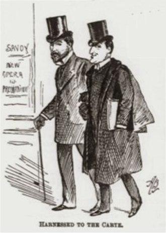 Edward Solomon - Caricature of Solomon (r) with Richard D'Oyly Carte, 1891