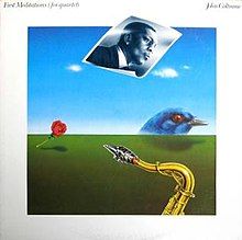 The cover is a painting depicting a giant bluebird peering over the horizon, a rose, a saxophone in the extreme foreground, and a blue photograph of Coltrane wafting in the air. The album title and artist appear in script at the top of the white border.