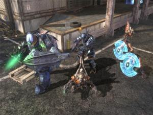 Covenant (Halo) - Clockwise from left: a Covenant Hunter, Brute, Jackals, and Grunts as they appear in Halo 3 (2007).