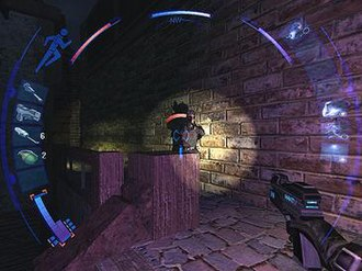 Deus Ex: Invisible War - The player, as Alex D, faces a soldier in one of the game's main locations.