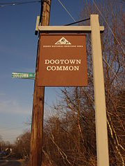 The entrance to Dogtown Commons, on Cherry Street