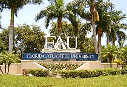 The Glades Road entrance sign, Boca Raton Campus.