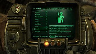 Fallout 3 - The Pip-Boy wrist computer remains a key feature in the series for the character menus. In Fallout 3, players get to use the Pip-Boy 3000, as shown here.