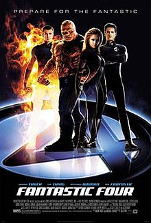 "The Four; Mr. Fantastic ,The Thing ,The Invisble Woman and The Human Torch are standing with their uniforms on the circled number ""4"" below them ,and the film's title, credits and release date underneath them."