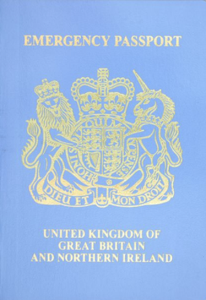 British emergency passport - The front cover of a contemporary British emergency passport.