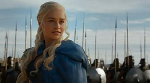 And Now His Watch Is Ended - Daenerys Targaryen tricks Kraznys and orders her new army, the Unsullied, to slay the masters and orders Drogon to scorch Kraznys. Many praised the scene, and highlighted Emilia Clarke's acting.