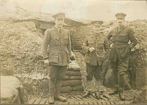 George Carter-Campbell - Major General Carter-Campbell (middle) in a trench with two fellow officers, sometime in 1918.