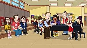 How Do You Solve a Problem Like Roberta? - The cast of Glee from left to right: Rachel Berry, Finn Hudson, Kurt Hummel, Artie Abrams, Mr. Schuester, Mercedes Jones, Noah Puckerman, Quinn Fabray, Tina Cohen-Chang
