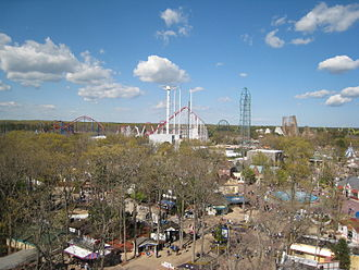 Six Flags Great Adventure - Another view of Six Flags Great Adventure from the Ferris wheel, looking northeast. From left to right, the coasters are Superman: Ultimate Flight, the now-defunct Great American Scream Machine, Kingda Ka, The now-defunct Rolling Thunder, El Toro, and Bizarro.