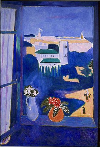Window at Tangier - Image: Henri Matisse, 1911 12, La Fenêtre à Tanger (Paysage vu d'une fenêtre Landscape viewed from a window, Tangiers), oil on canvas, 115 x 80 cm, Pushkin Museum