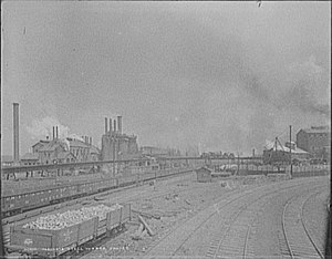 Joliet Iron and Steel Works - 1901 photo of the steel works at Joliet