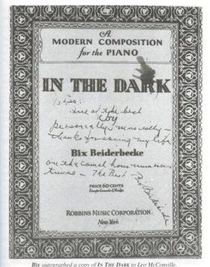 In the Dark (Bix Beiderbecke song) - 1931 sheet music cover, Robbins Music, New York.