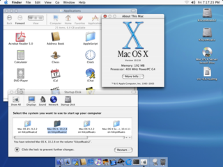 Mac OS X Jaguar 2002 operating system from Apple