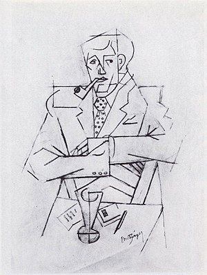 Guillaume Apollinaire - Jean Metzinger, 1911, Etude pour le portrait de Guillaume Apollinaire, graphite on paper, 48 × 31.2 cm, Musée National d'Art Moderne, Centre Georges Pompidou, Paris