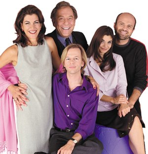 Just Shoot Me! - The series main cast, from left to right: Malick, Segal, Spade (seated), San Giacomo, and Colantoni.