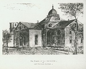 New Harmony, Indiana - The Church of the Harmonists; sketch by Charles Alexandre Lesueur. From the collection of the Academy of Natural Sciences of Philadelphia, one of many sketches preserved in the Lesueur Collection at the Academy. Shown here by courtesy of the Academy.