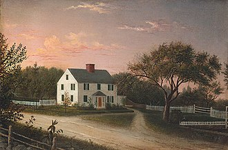 Sterling, Massachusetts - Blood Family Homestead (1859) in Sterling, by Mary Blood Mellen (1817-1882)