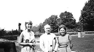 Joseph Hirshhorn - Hirshhorn with Jacqueline Moss and an unknown arts writer in the sculpture garden at Round Hill, 1970.
