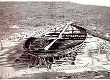 The hull of one of two ships recovered from Lake Nemi during the 1930s.  This massive vessel served as an elaborate floating palace to the emperor.