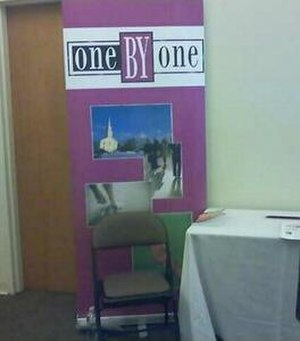 Conversion therapy - OneByOne booth at a Love Won Out conference