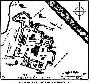 Plan of the Siege of Lucknow -Our fighting services - Evelyn Wood pg501.jpg