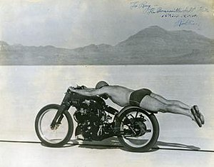 Rollie Free - Rollie Free in his unique riding position, and minimal clothing, during his record breaking run in 1948.