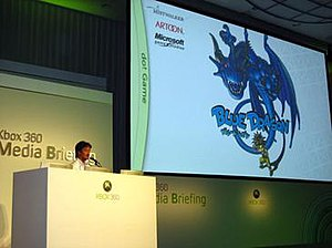 Blue Dragon (video game) - Hironobu Sakaguchi giving a presentation on Blue Dragon at the 2006 Tokyo Game Show convention.