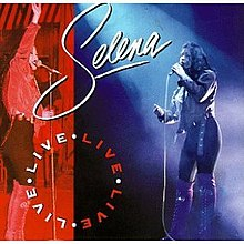 "An artwork that contains two photographs of a Latina singer live in concert. On the left side, while she holds a microphone, she is waving to her fans smiling, and the background is red. On the right side, the woman is singing a sad tune, while her hands are outwards from her body; the backgroung is blue. At the far left bottom, the words ""Live"" is written in a circle, repeated four times."
