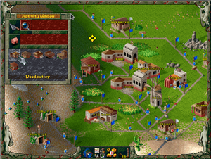 "The Settlers II - Screenshot of Settlers II, showing the ""Activity window"", which allows players to construct buildings. The HUD also shows part of the player's settlement, with the various buildings linked by roads. The roads are demarcated by waypoints (blue flags), which function as hubs for the distribution of goods, with a single settler operating between each flag."