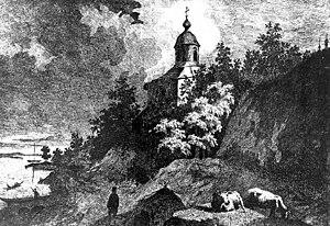 Vydubychi Monastery - St Michael Church in Vydubychi, as depicted by Taras Shevchenko