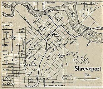 Shreveport, Louisiana - Map of Shreveport in 1920