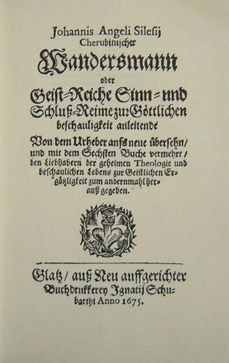 Angelus Silesius - The title page of the 1674 edition Der Cherubinische Wandersmann
