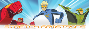 Stretch Armstrong and the Flex Fighters - Armstrong with his companions Omni-Mass and Wingspan