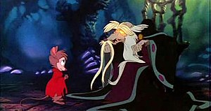 The Secret of NIMH - Mrs. Brisby meets Nicodemus. Backlighting techniques are used in this scene to give Nicodemus's eyes a bright glow.  According to the 2007 DVD release, Bluth wanted Nicodemus and the Great Owl to be seen as aspects of the same character, accounting for some similarities in their designs.