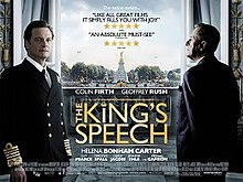 A film poster showing two men framing a large, ornate window looking out onto London. Colin Firth, on the left, is wearing as naval uniform as King George VI, staring at the viewer. Geoffrey Rush, on the right, is wearing a suit and facing out the window, his back to the reader. The picture is overlaid with names and critical praise for the film.