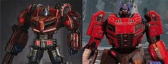 "Optimus Prime - Autobot leader Optimus Prime underwent design changes for Fall of Cybertron (right). Lead artist Ivan Power stated that the redesign from his War for Cybertron incarnation (left) was to give the character a ""more warrior-type feel""."