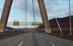 Steubenville, Ohio - The Veterans Memorial Bridge connects Steubenville to Weirton, West Virginia across the Ohio River and is the border crossing between the states of West Virginia and Ohio on U.S. Highway 22.