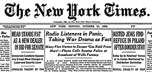 The War of the Worlds (radio drama) - The New York Times headline from October 31, 1938
