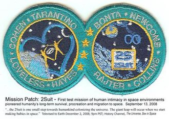 "2suit -  Mission patch: pioneering human intimacy in space. ""The 2suit is one small step for humankind colonizing the universe."" History Channel, The Universe: Sex in Space"