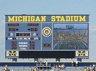 2007 Appalachian State vs. Michigan football game - Image: App Michigan Scoreboard
