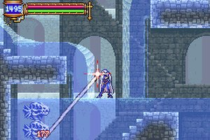 Castlevania: Aria of Sorrow - An image of gameplay, with the primary character, Soma Cruz, using a soul to attack a pair of enemies.