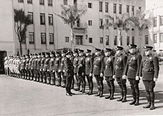 Beverly Hills Police being inspected by Sir Harry Lauder's, late 1930s