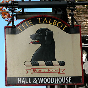 Talbot (dog) - Unusual black Talbot on an Inn sign at Iwerne Minster, Dorset