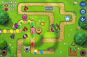 Bloons Tower Defense - A screenshot of the Bloons TD 5 iOS version.