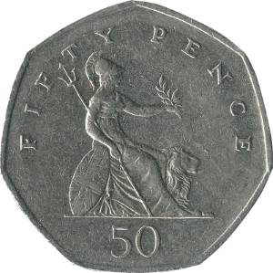 Fifty pence (British coin) - Original reverse: 1969–2008