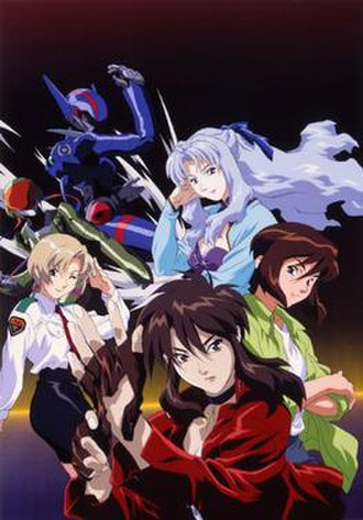 Bubblegum Crisis Tokyo 2040 - The members of the Knight Sabers, as seen in Bubblegum Crisis Tokyo 2040: Sylia (top), Nene (left), Linna (right), Priss (bottom)