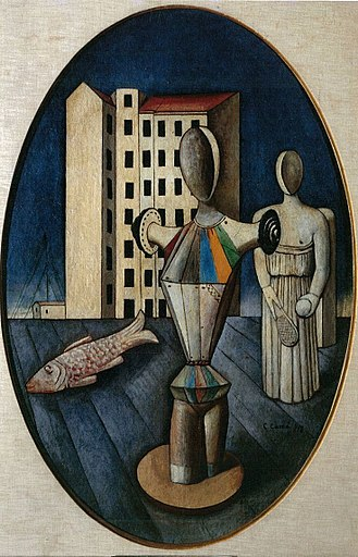 Metaphysical art - Carlo Carrà, 1918, L'Ovale delle Apparizioni (The Oval of Apparition), oil on canvas, 92 x 60 cm, Galleria Nazionale d'Arte Moderna, Rome