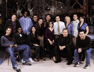 Saturday Night Live (season 28) - Cast of 02/03. Back row from left to right: Richards, Edwards, Armisen, Kattan, Sanz, Fallon, Poehler, Forte and Dratch. Front row from left to right: Meyers, Morgan, Rudolph, Fey, Hammond and Parnell.