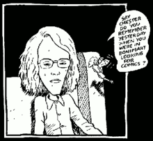 A cartoon panel of long-haired boy with glasses, and a small winged figure speaking to him