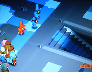 Homeland (video game) - Returning the squid king to his throne in the Parasquid storyline (screenshot from a multiplayer game). The group of characters in the lower left are player mascots with accessories.